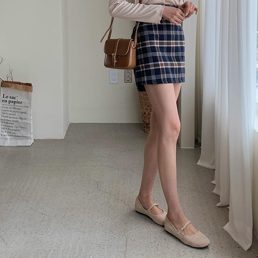 Marbrit check skirt