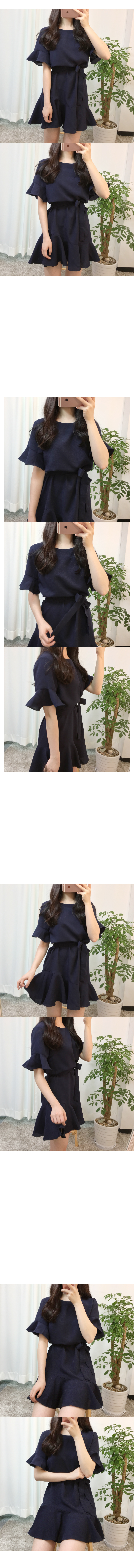 Frill Ribbon String Mini Dress