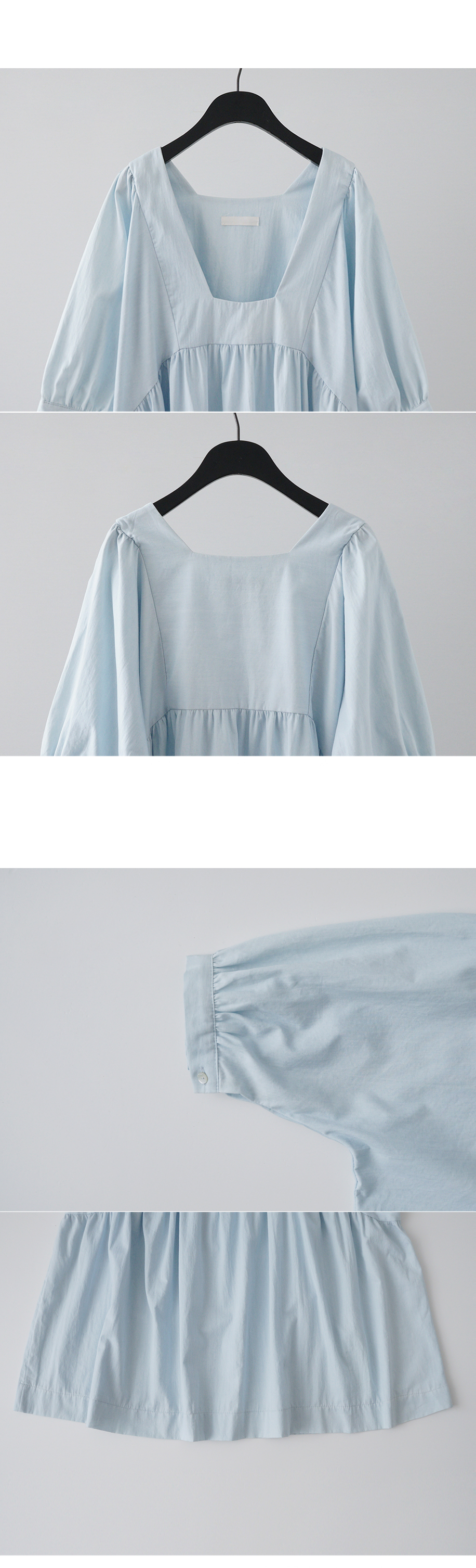 deep square neck puff blouse