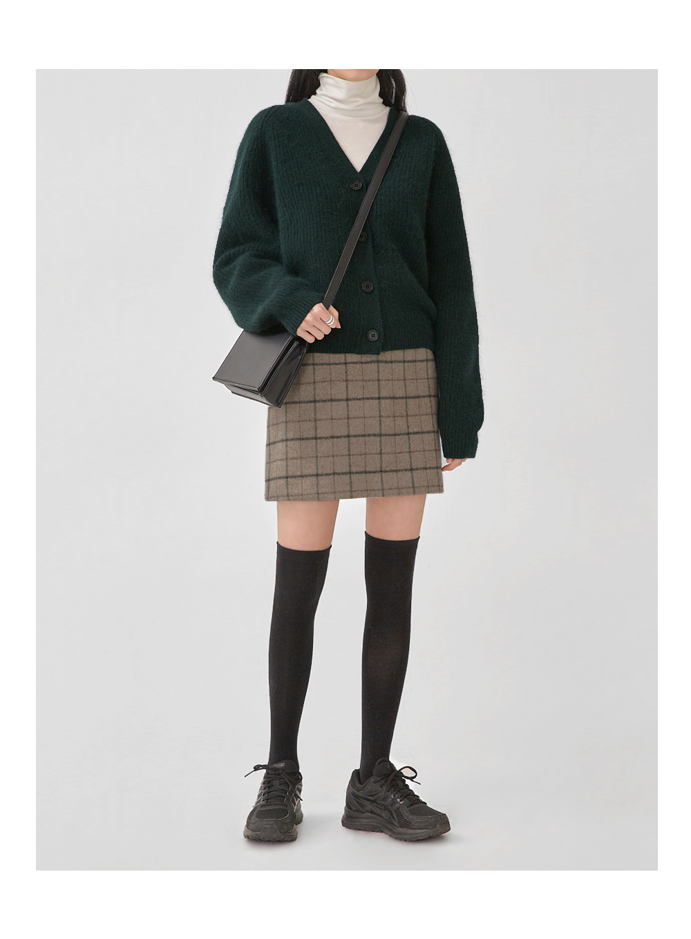 awesome wool mini check skirt (s, m)