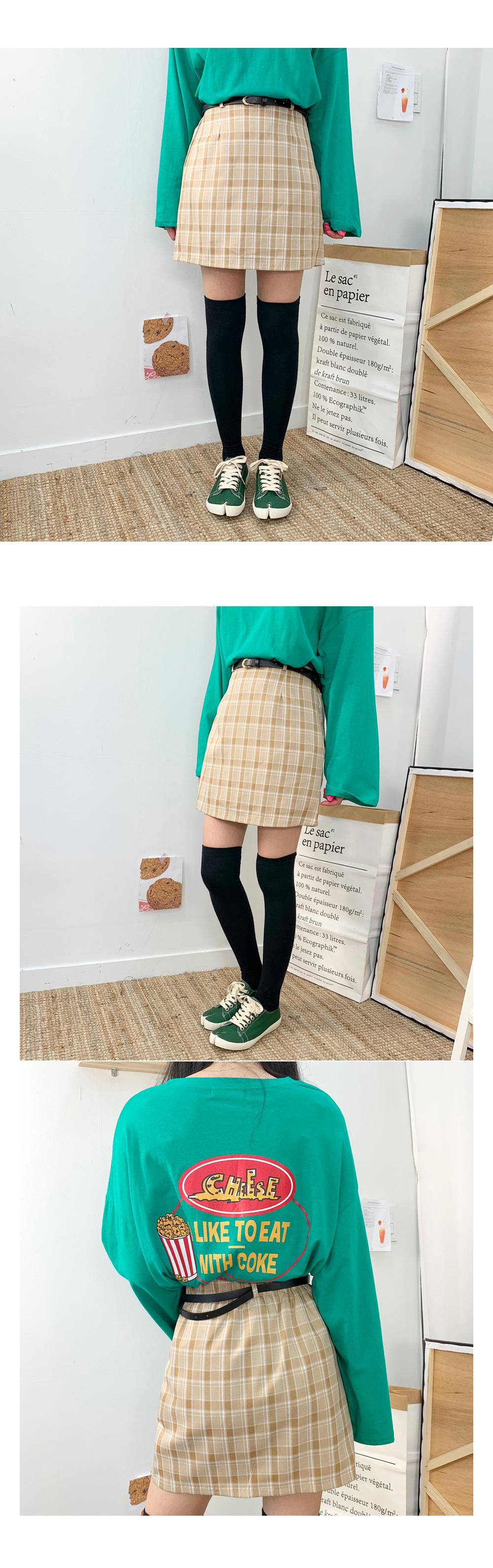 Rose the check skirt