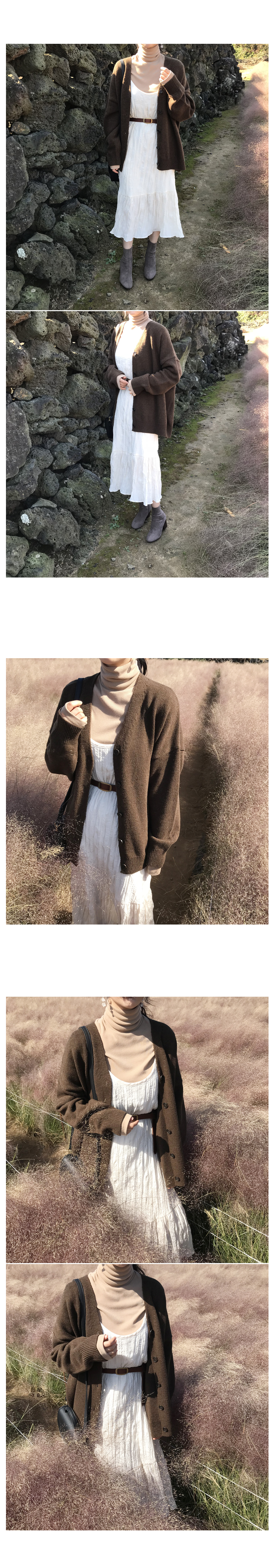 With knit cardigan