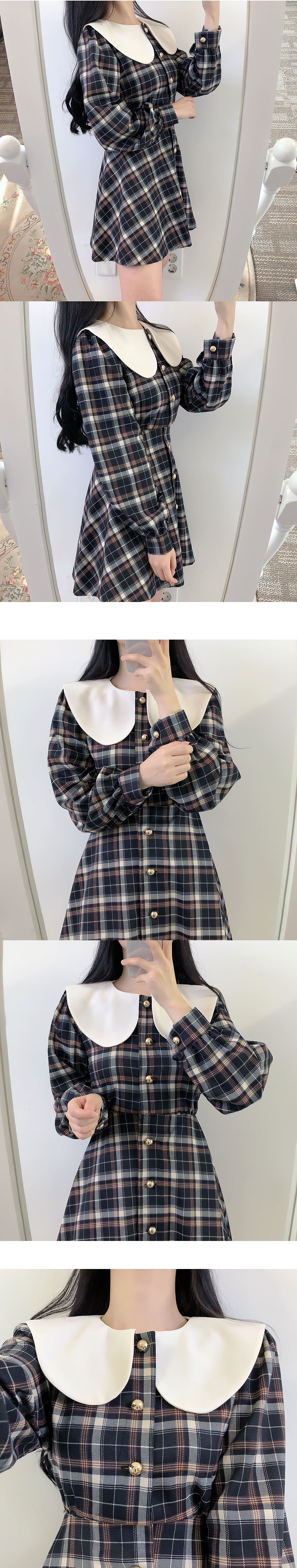 Caroni Round Collar Check Dress