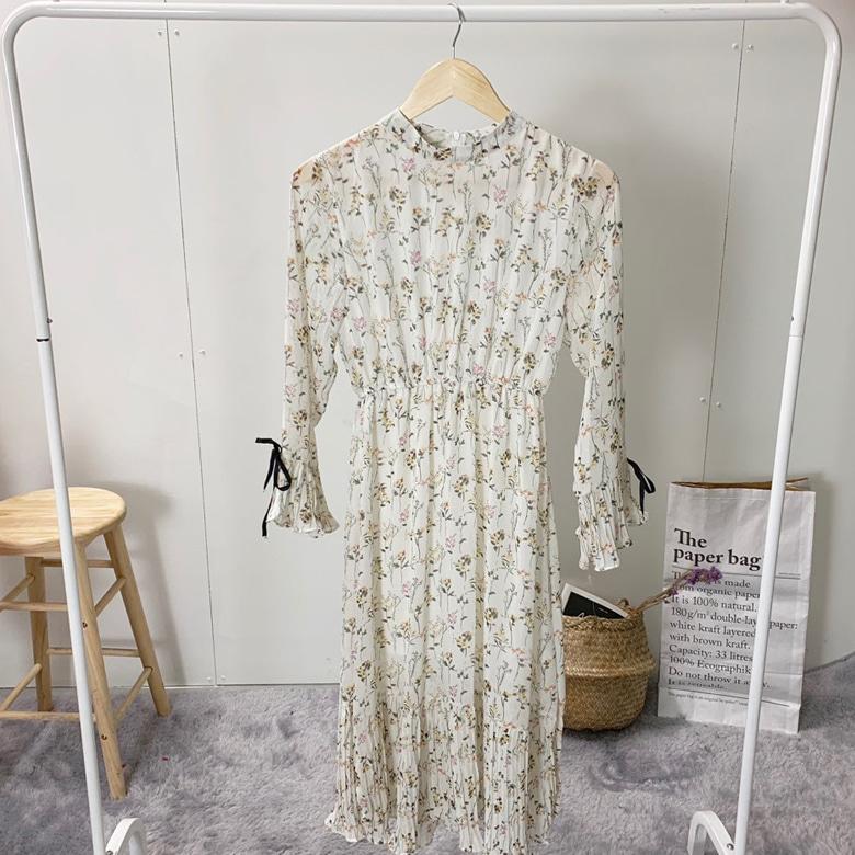 Rose Bean Pleated Long Dress