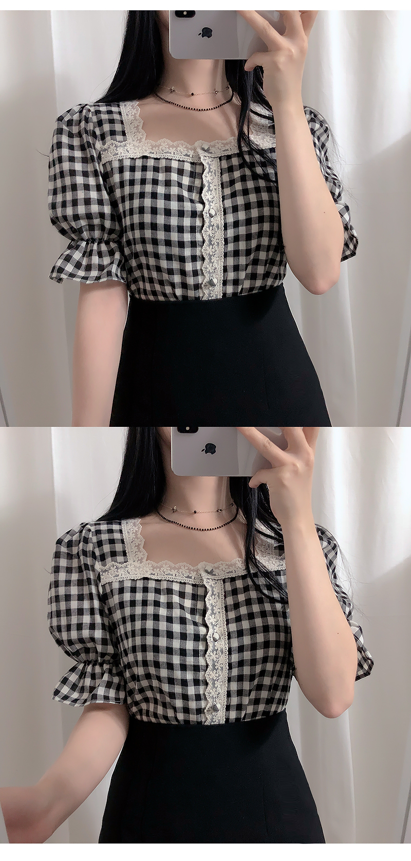 Self-made, ♥ check square lace blouse
