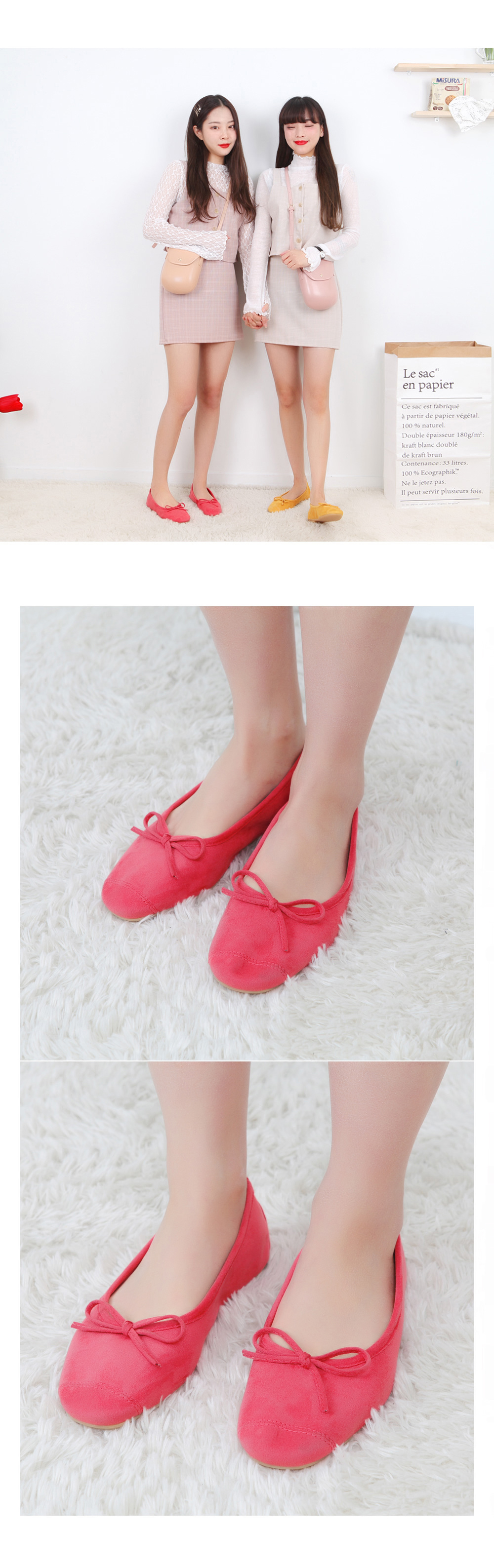 Ribbon suede flat shoes