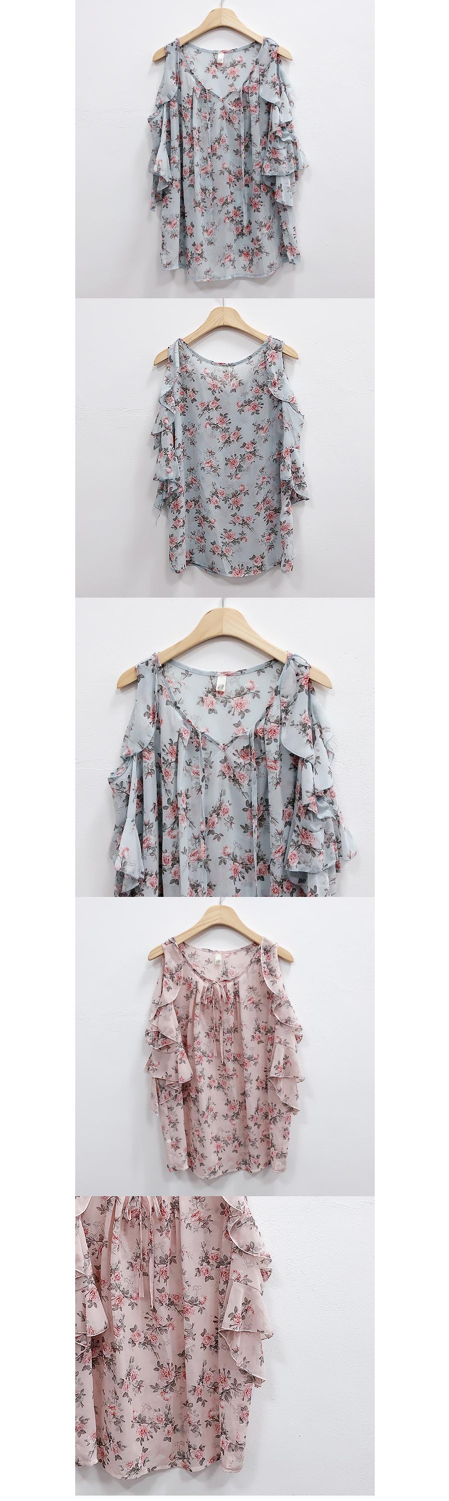 Rubber flower shoulder blouse