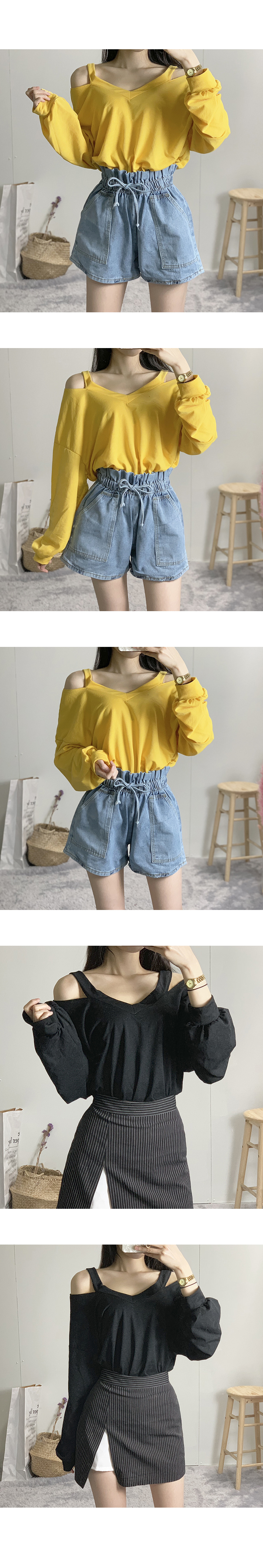 See-through long-sleeved tee off shoulder strap