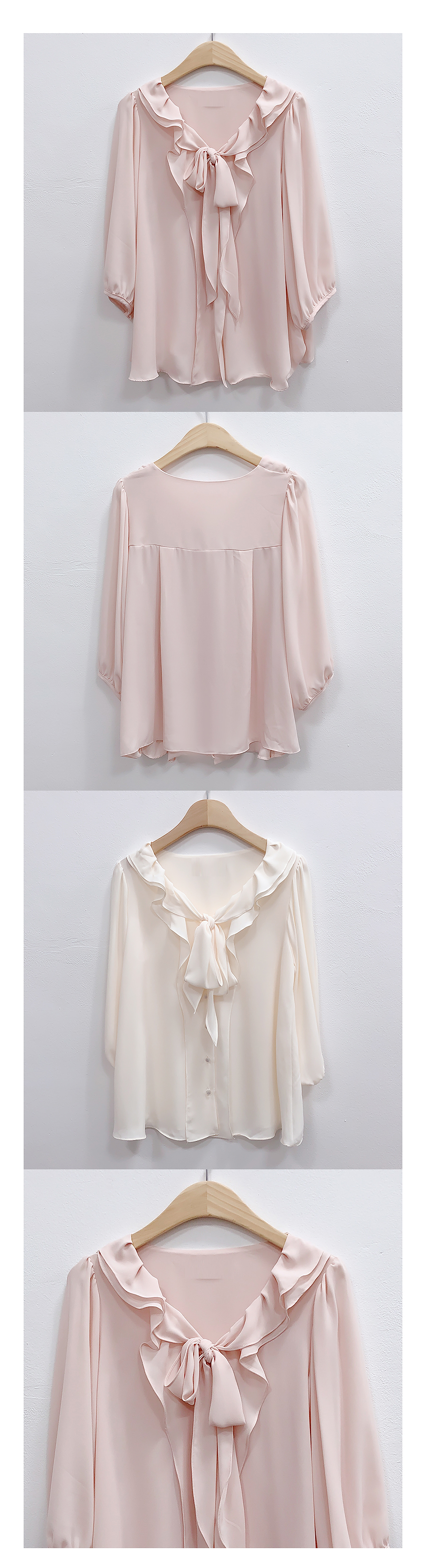 Double frill ribbon blouse
