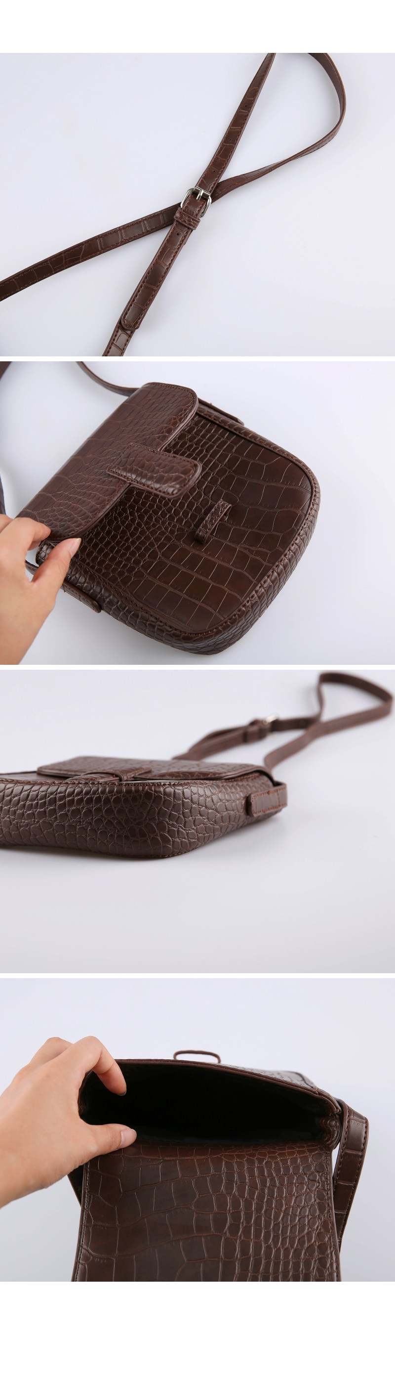 Crack leather cross bag