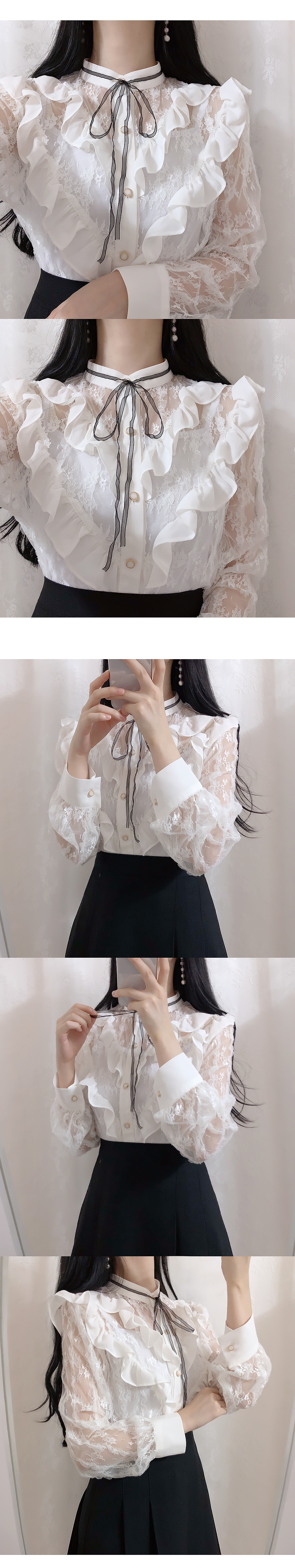 Hepburn see-through lace blouse