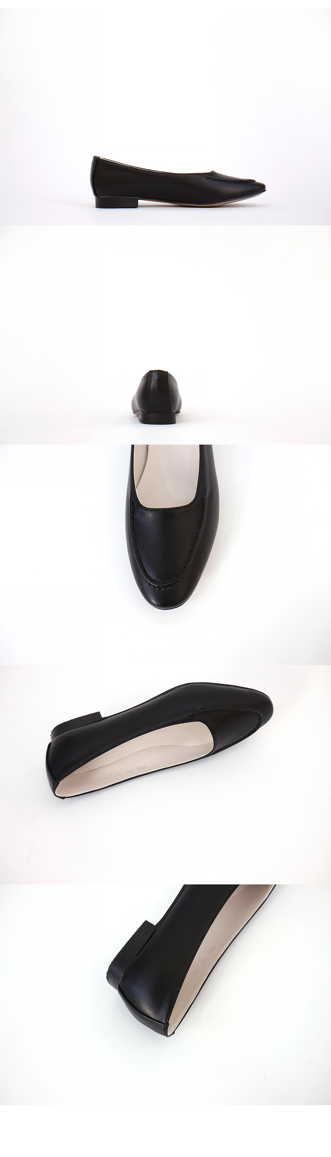 Round nose stitched flat shoes