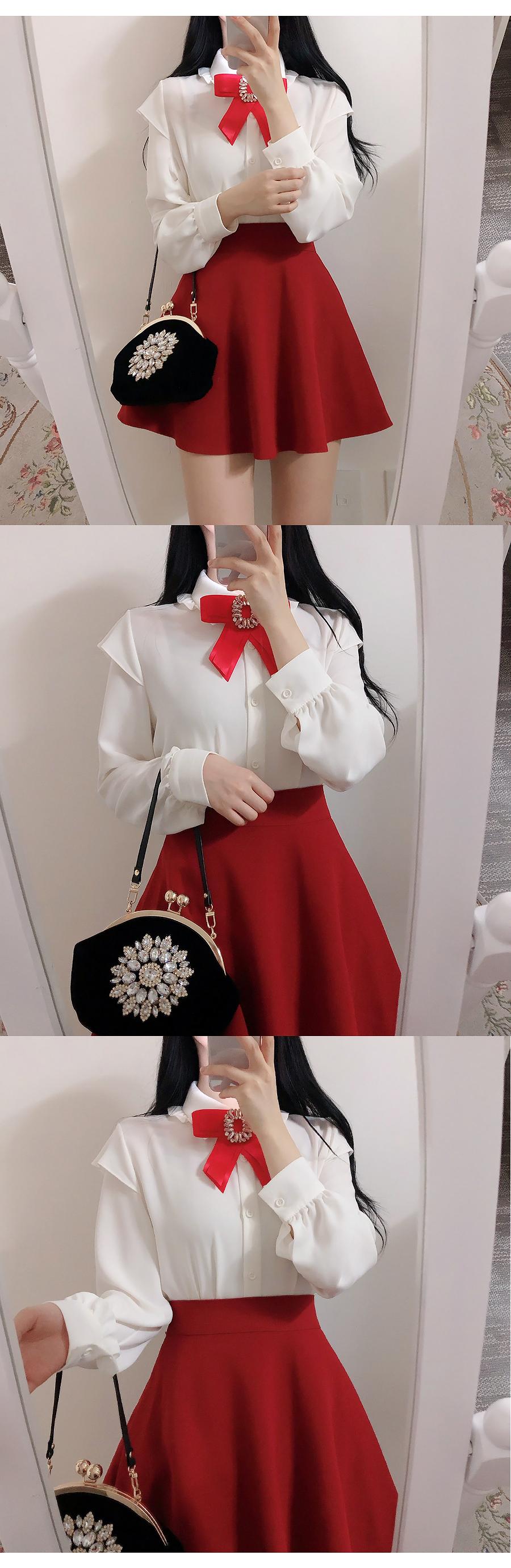 Brooch set ♥ Monaco velvet ribbon blouse