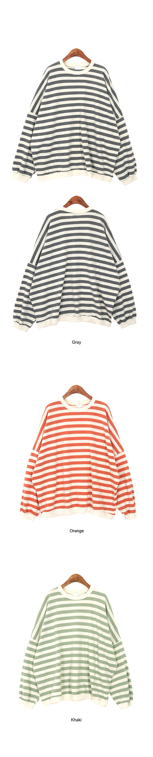 Boxy-fit striped man-to-man