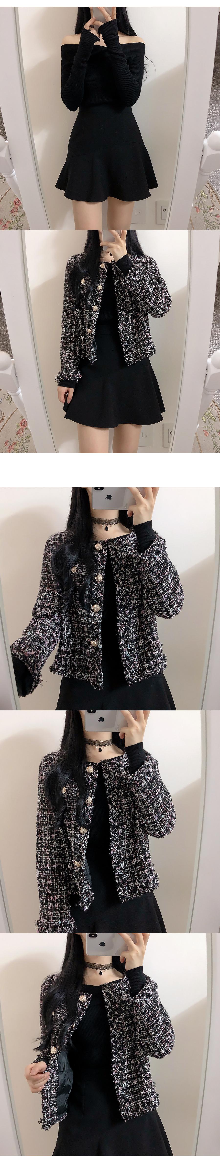 기획특가♥수아 트위드 자켓(크림,블랙)