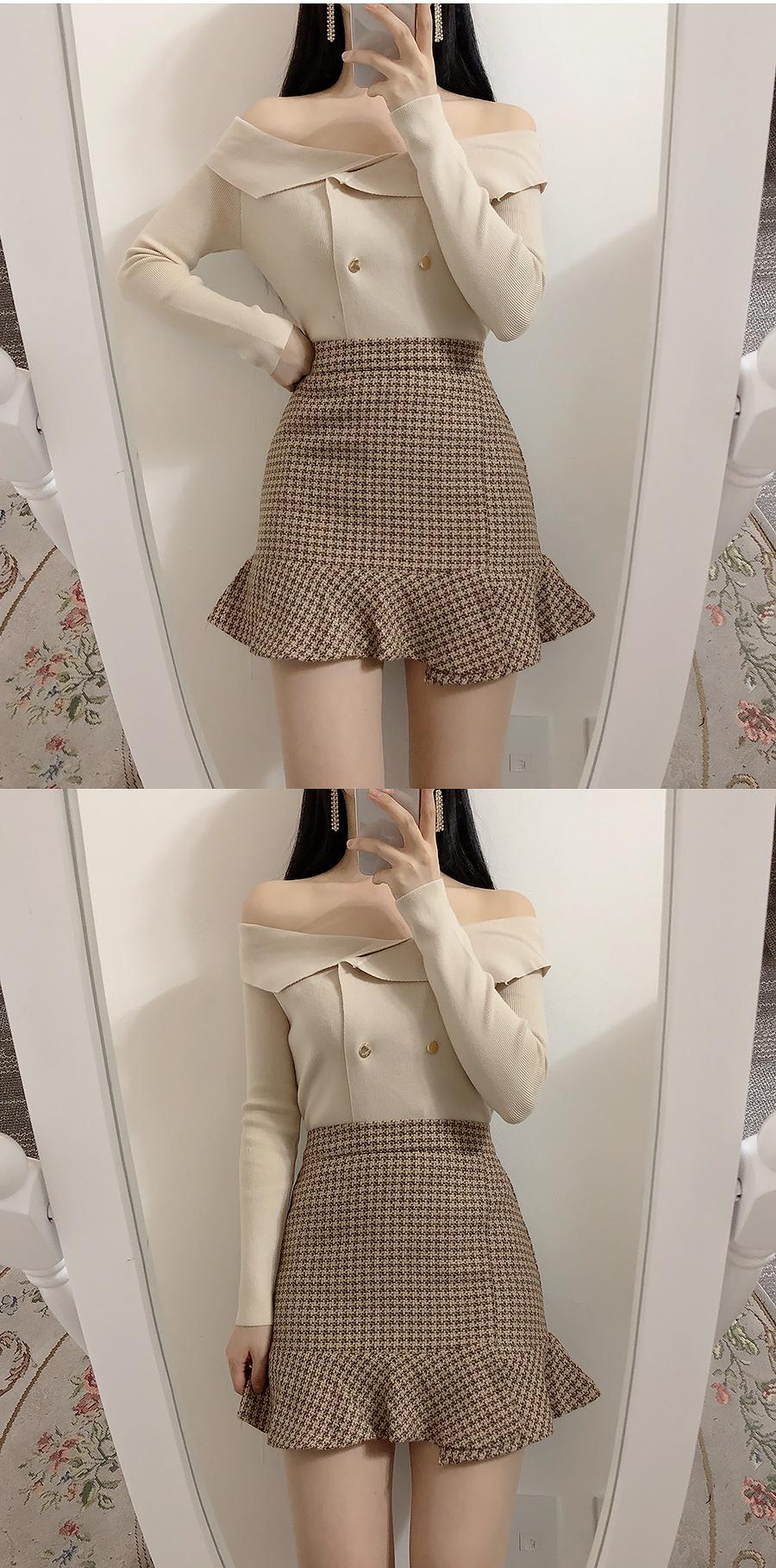 Shoulder color double knit tea