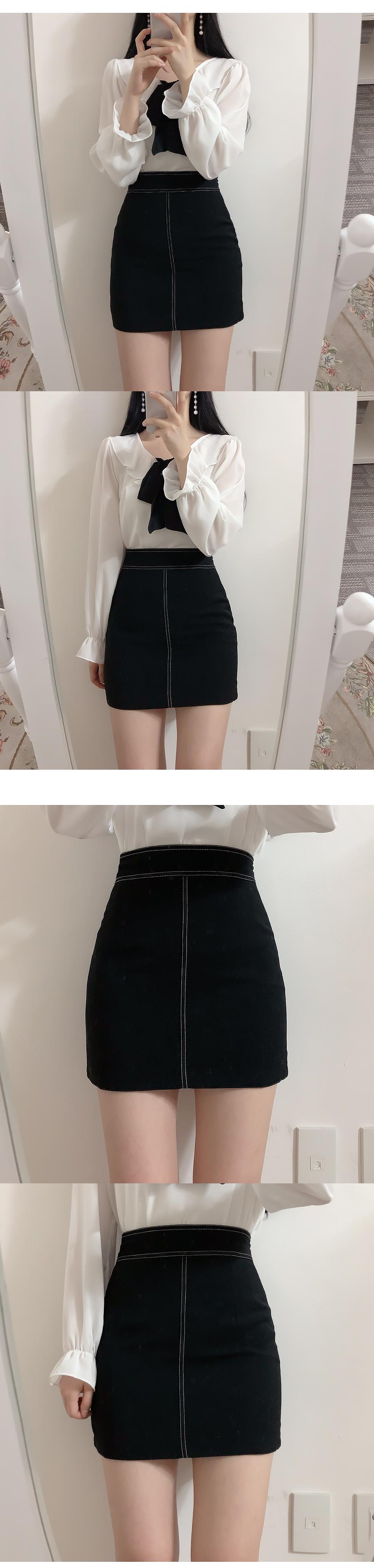 Stitched mini skirt