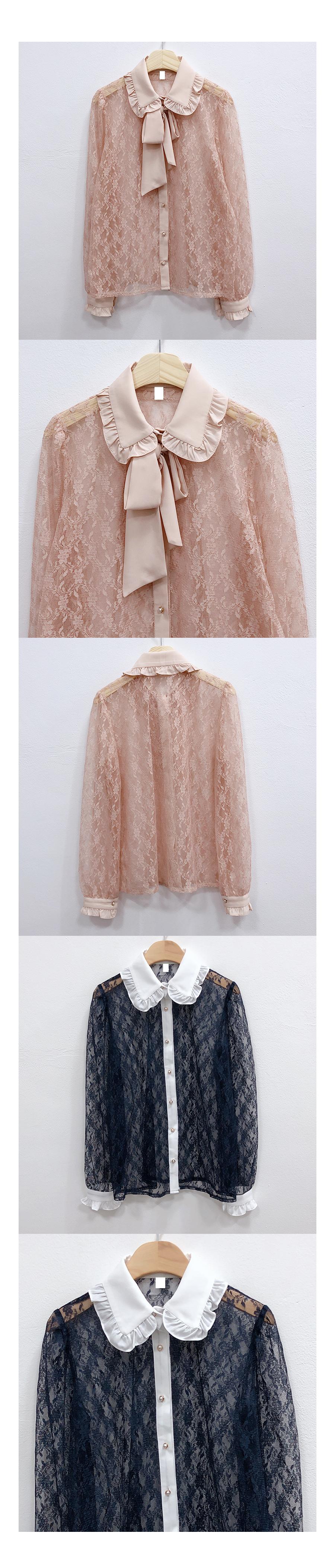 French lace ribbon blouse