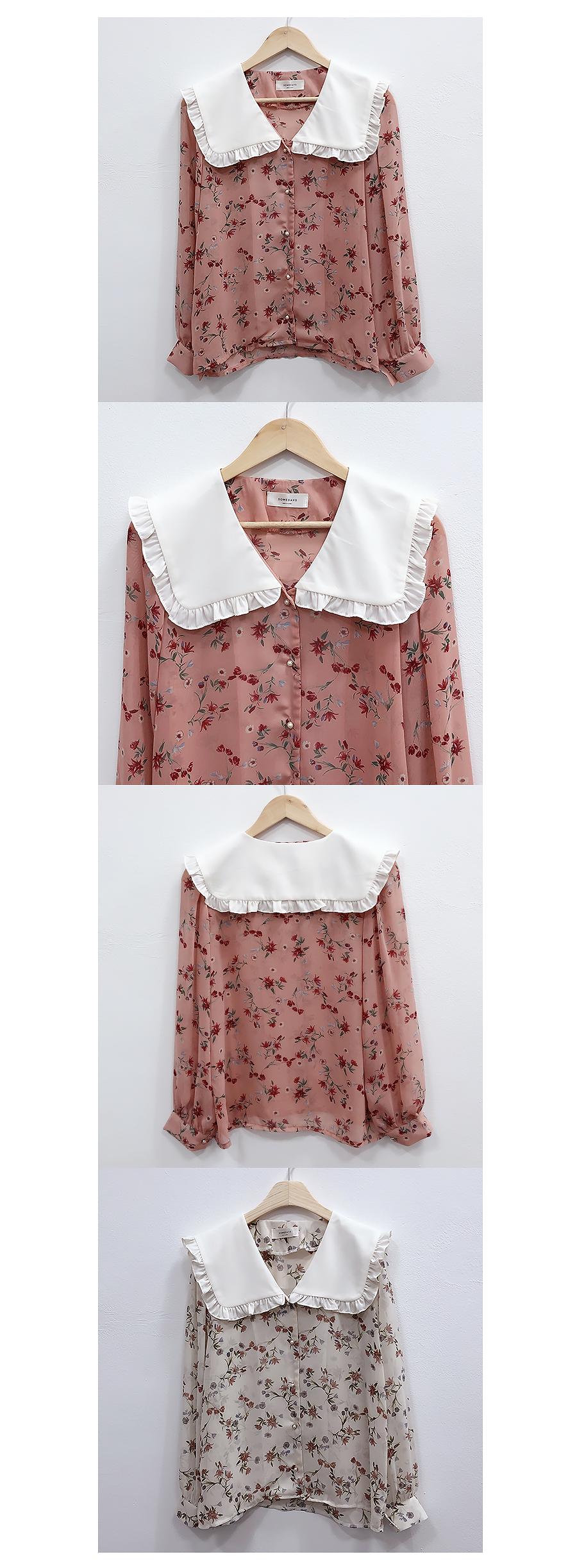 Self-made ♥ rose ruffle collar blouse