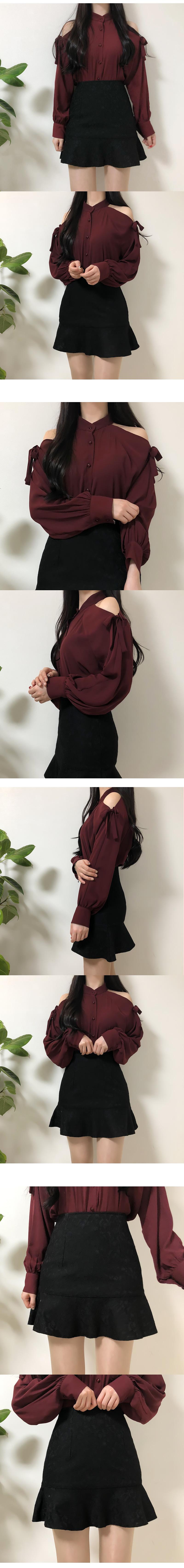 Self-made ♥ halter goddess shoulder blouse
