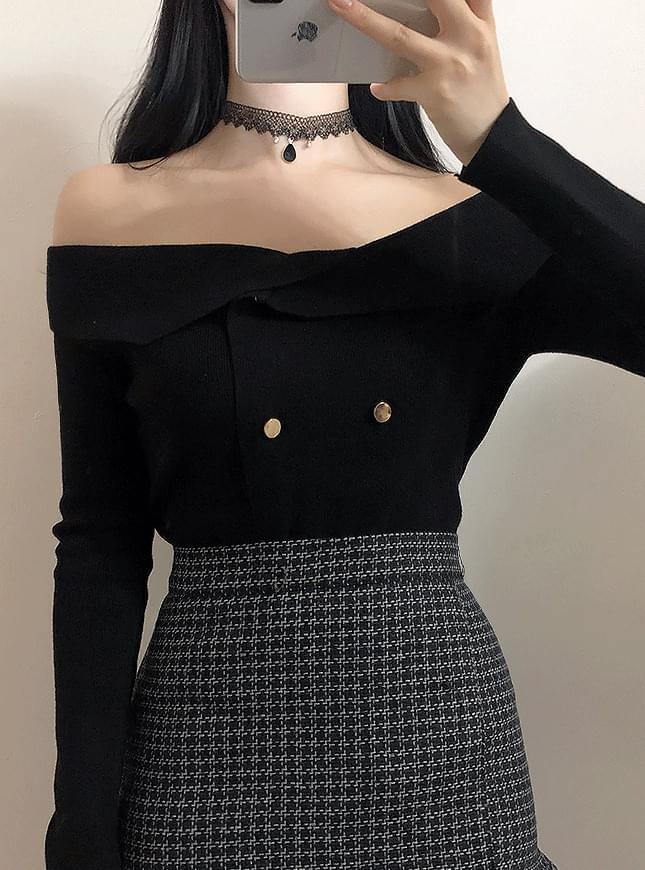 Shoulder color double knit tea 針織衫