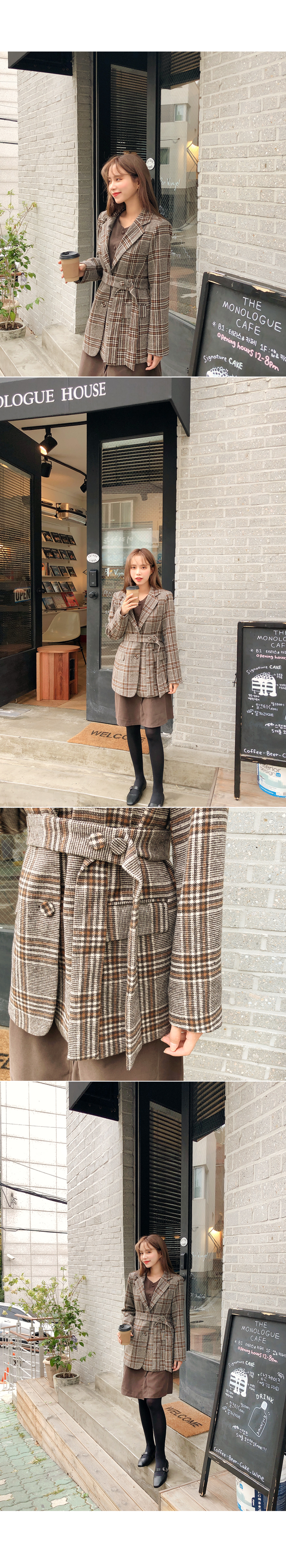 Loose-fit check pattern jacket
