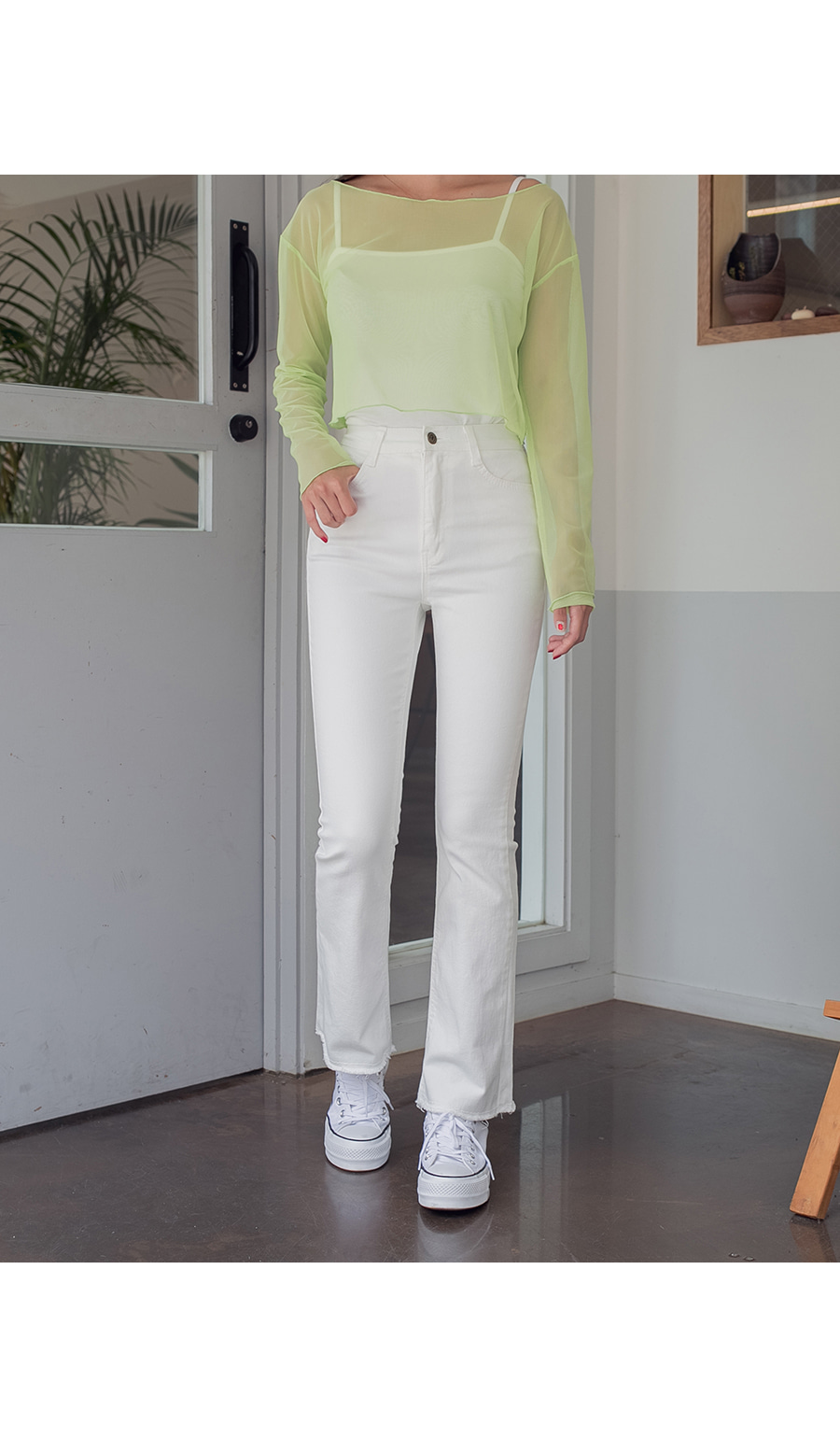 Basic cotton bootcut pants
