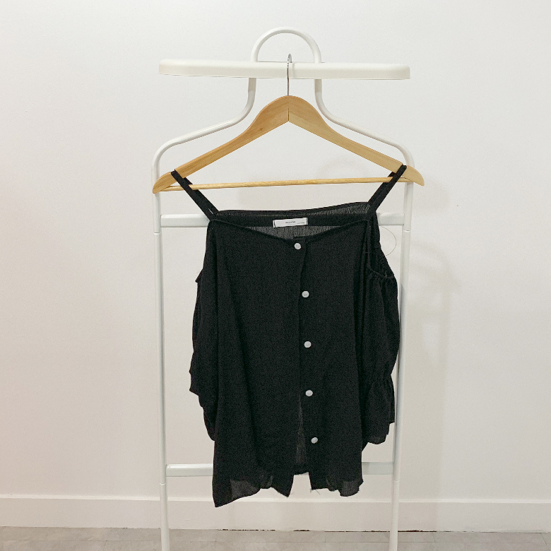 Terry frill off shoulder blouse