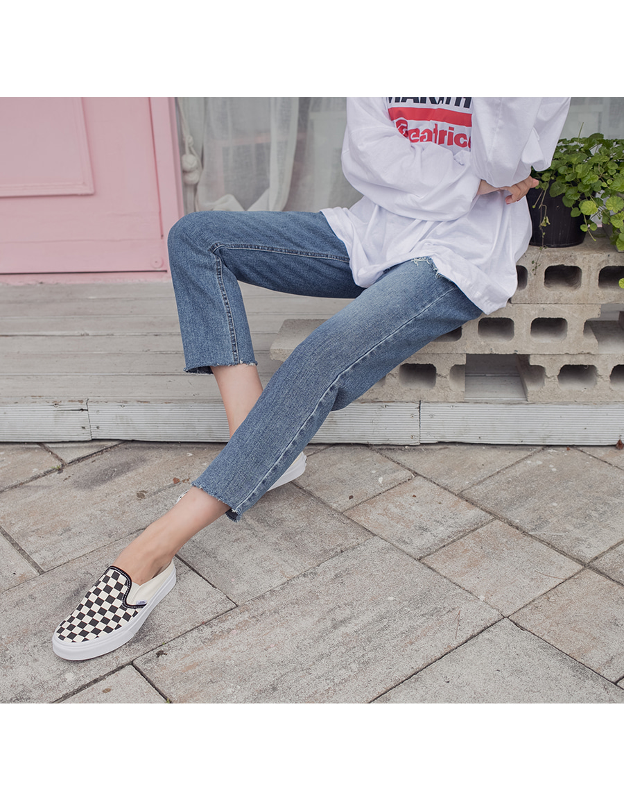 Straight banded denim pants
