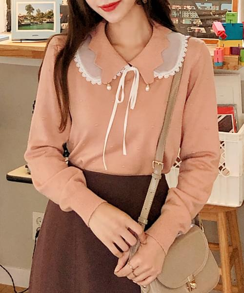 Here fit point collar knit