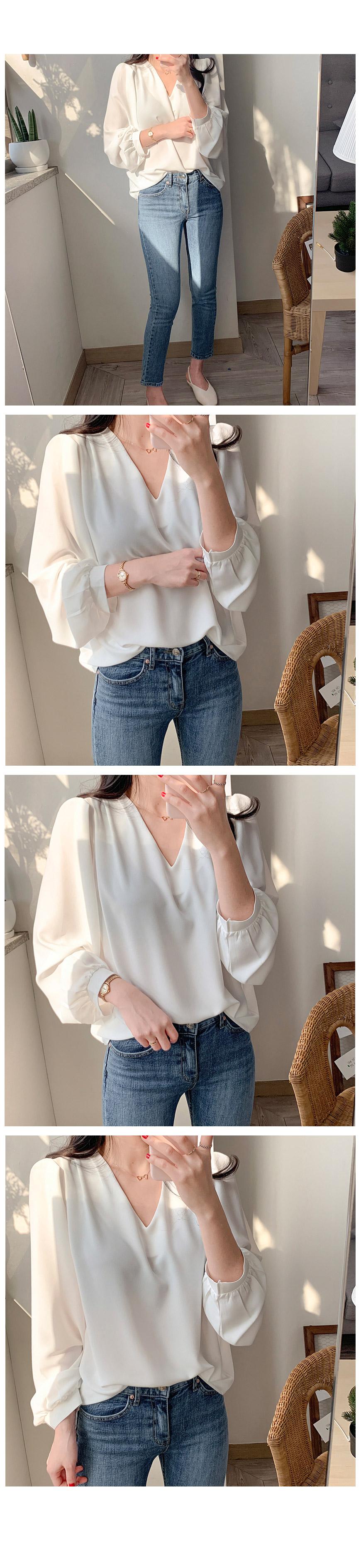 Basic Shirring V-neck Blouse 2color