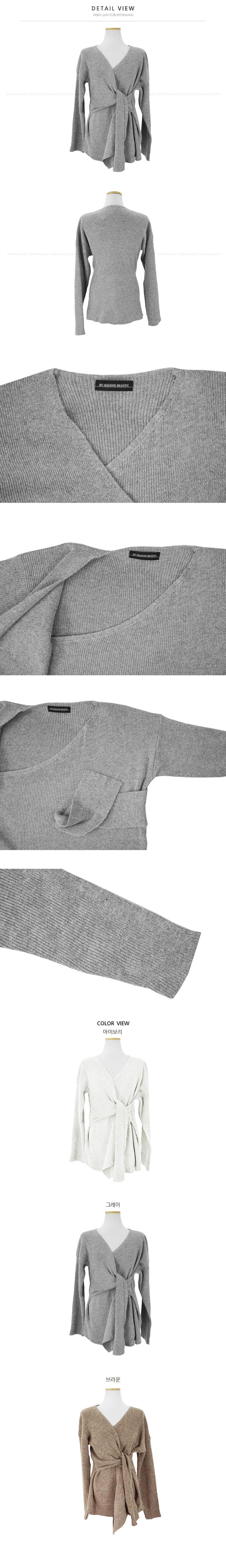Dot V Neck Twist Wrap knit-3color