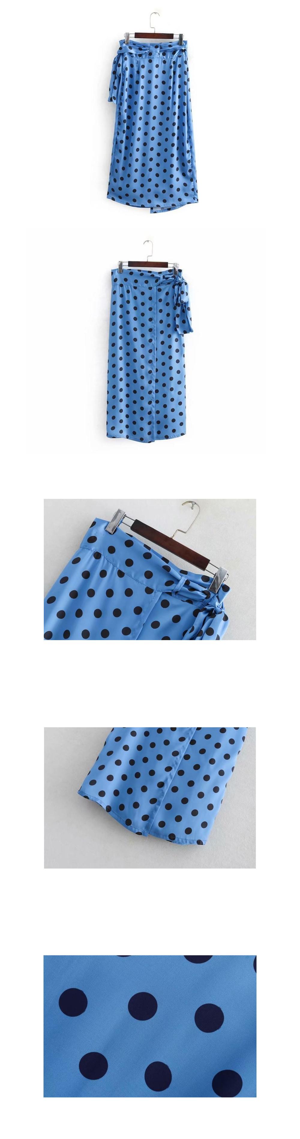 Blue satin dot lap skirt _SK03062