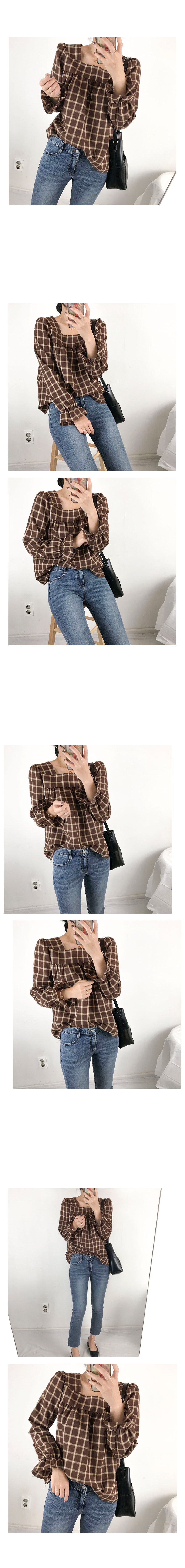Check Square Neck Shearing Blouse 3color