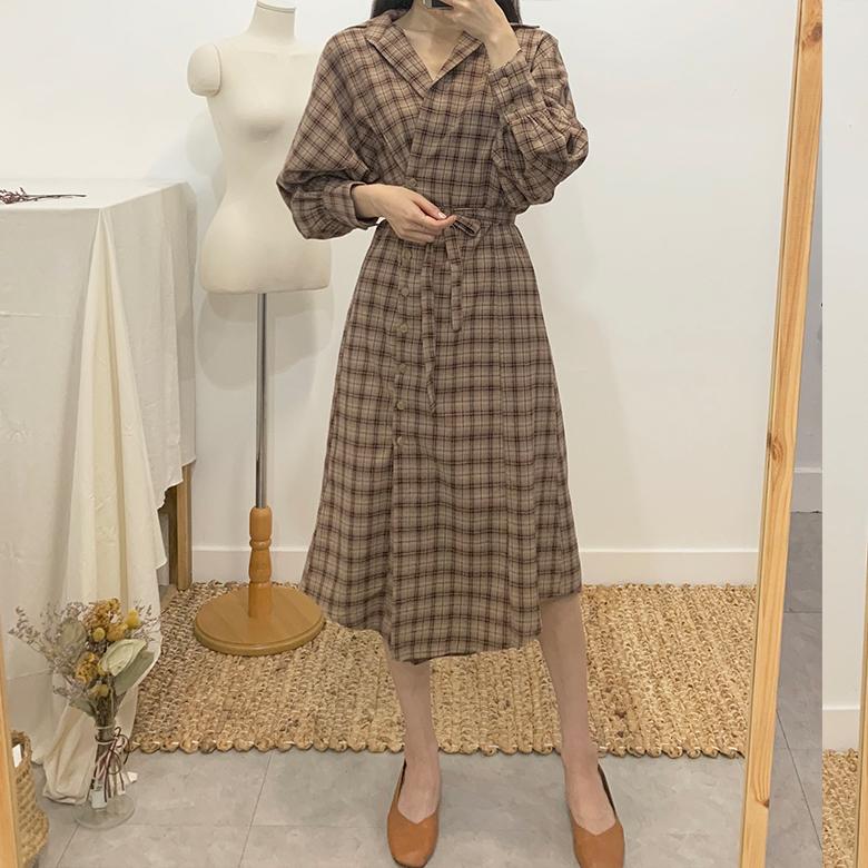 Ernie Unval Check Long Dress