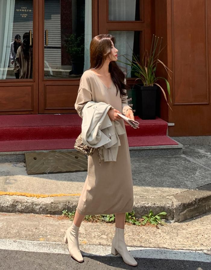 Post knit long dress
