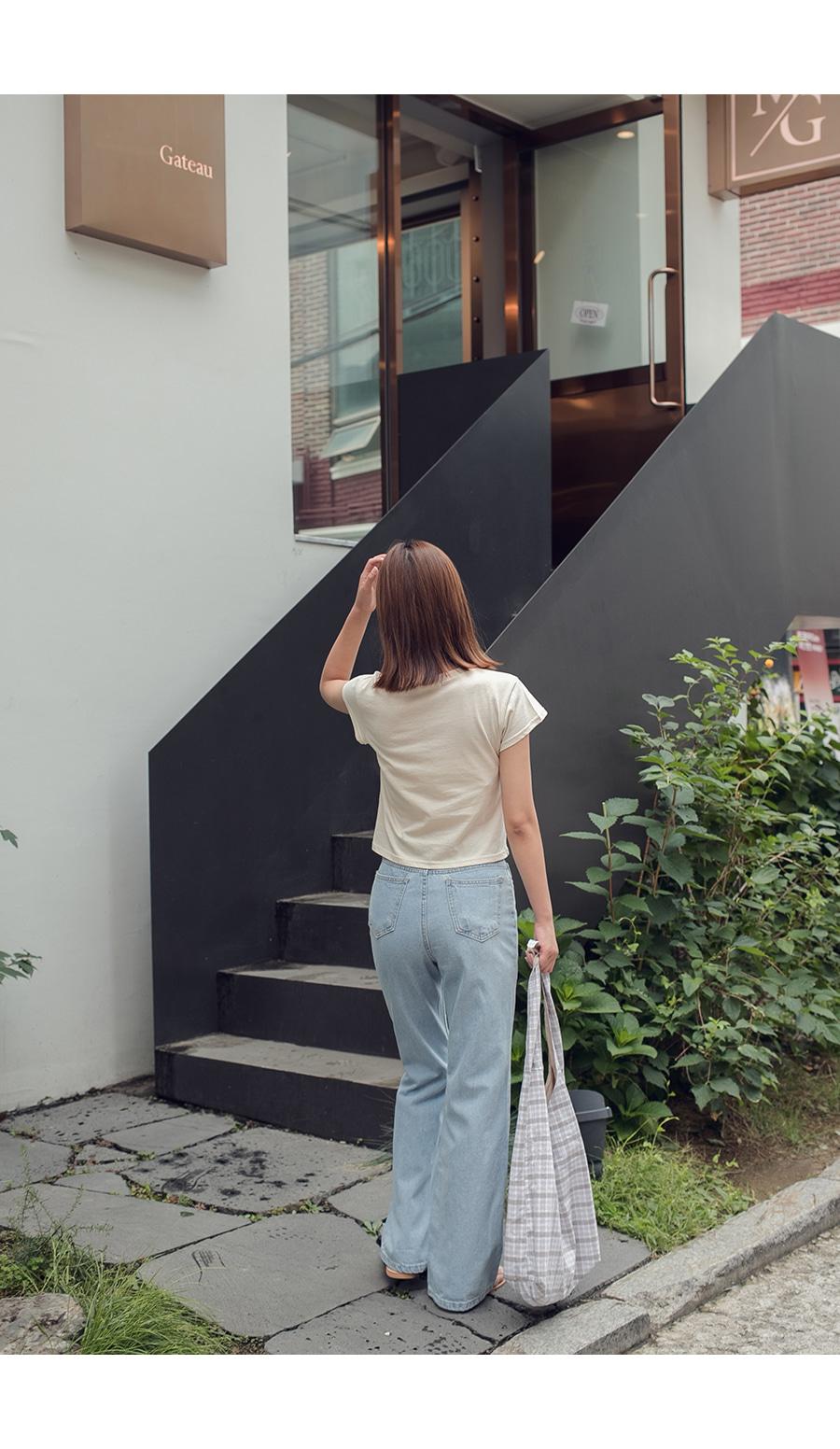 Wide-pit denim pants