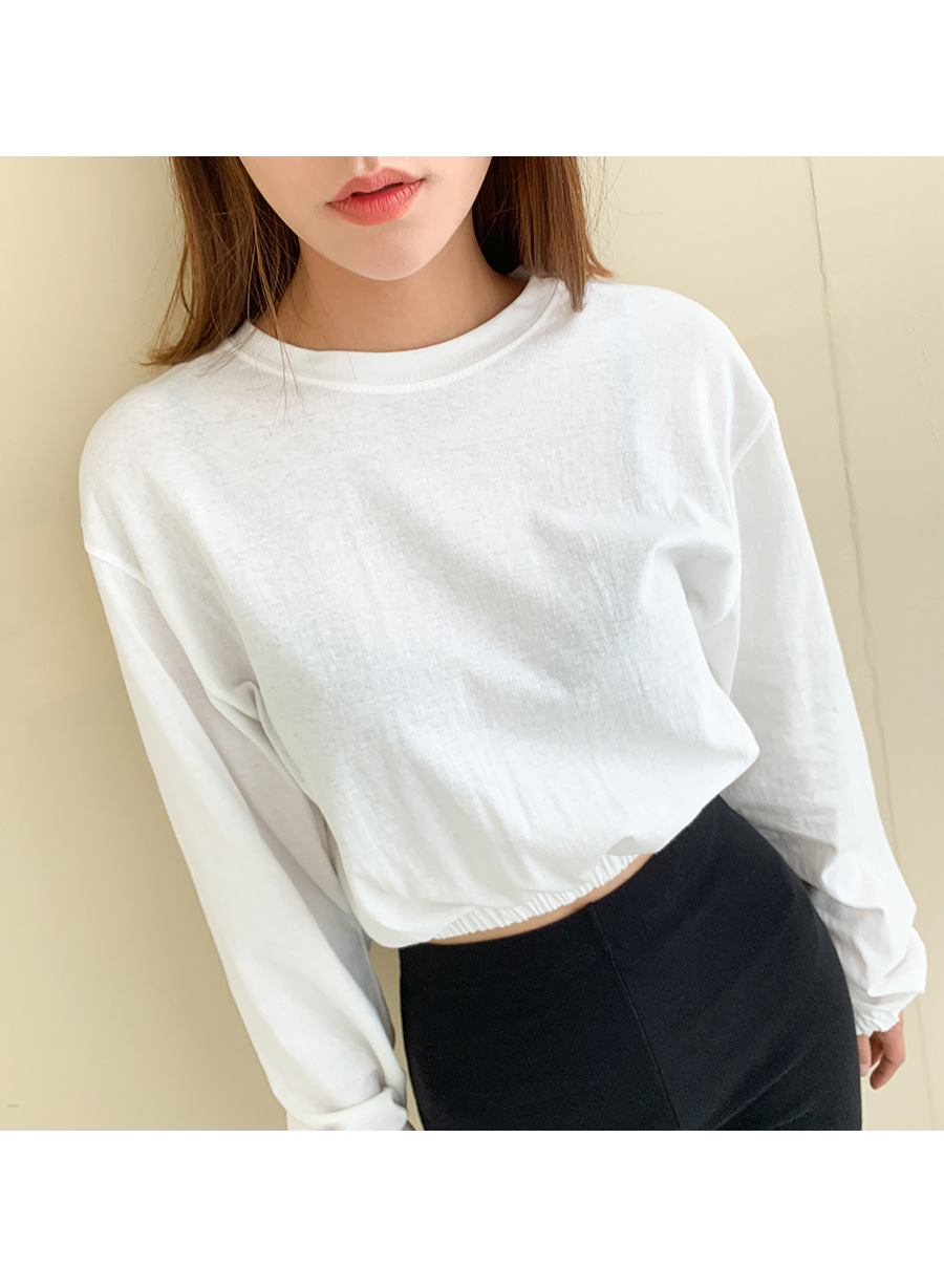 Banded crop long-sleeved T-shirt