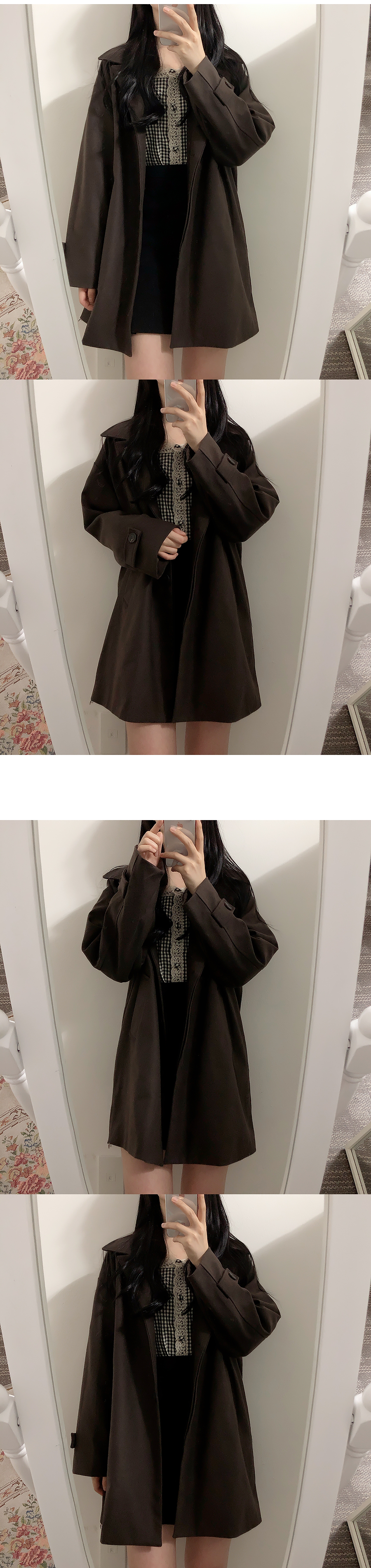 Self-made ♥ ganache wool snap button collar coat