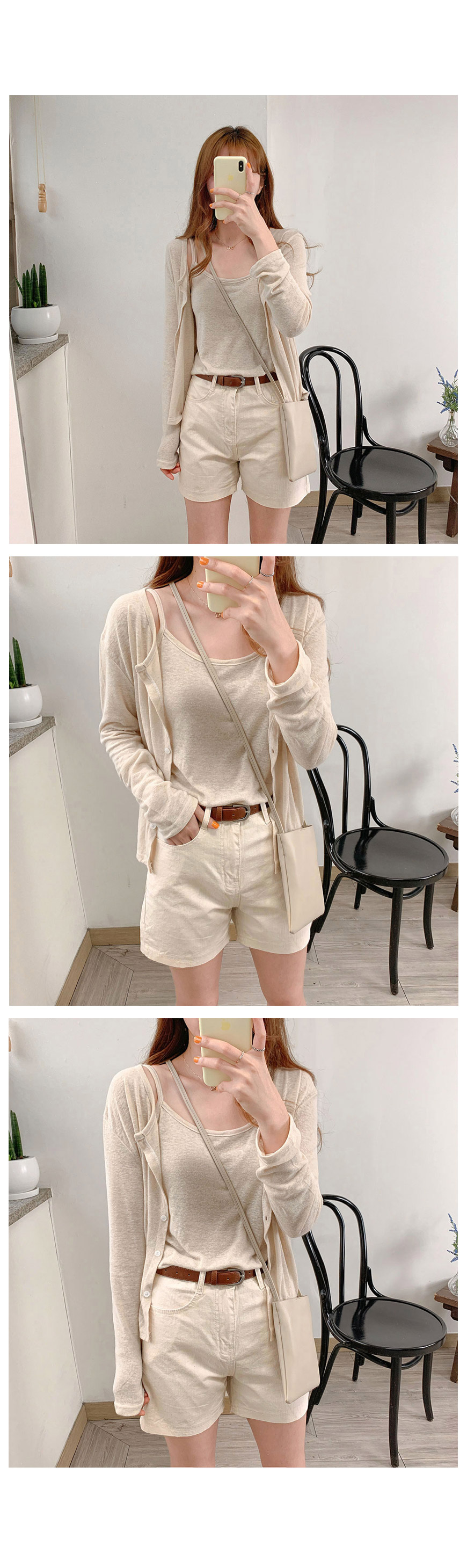 Round linen nashi cardigan set-2color
