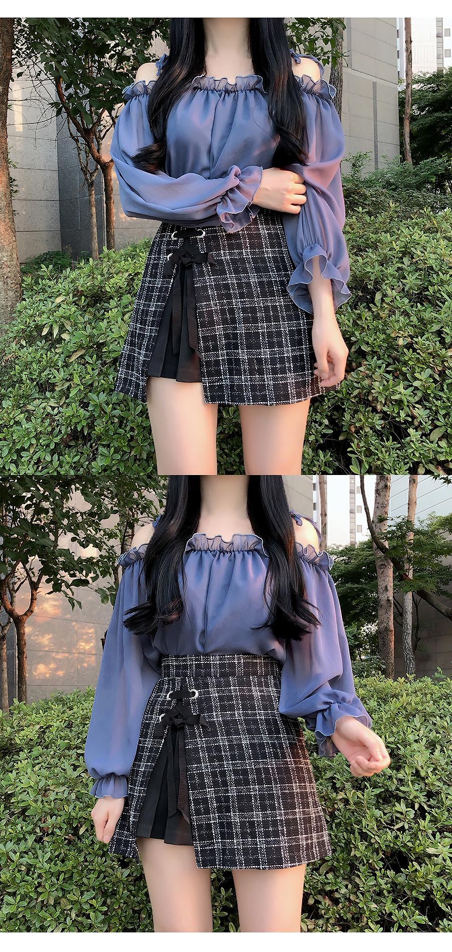Tweed eyelet skirt pants