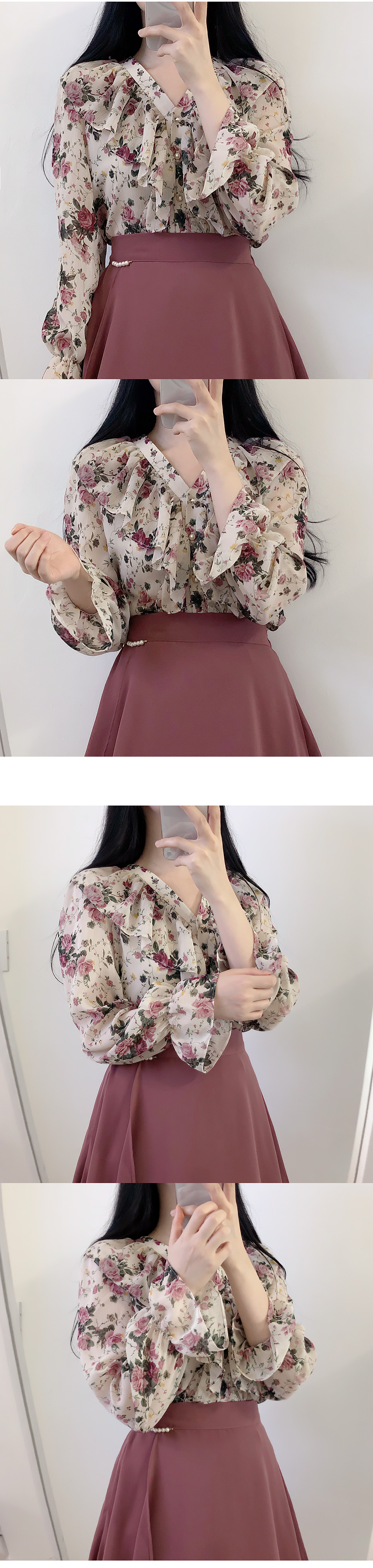 Rosette Shirring Flower Blouse