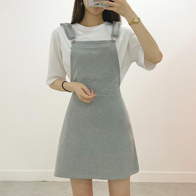 Shabby pocket suspenders mini dress