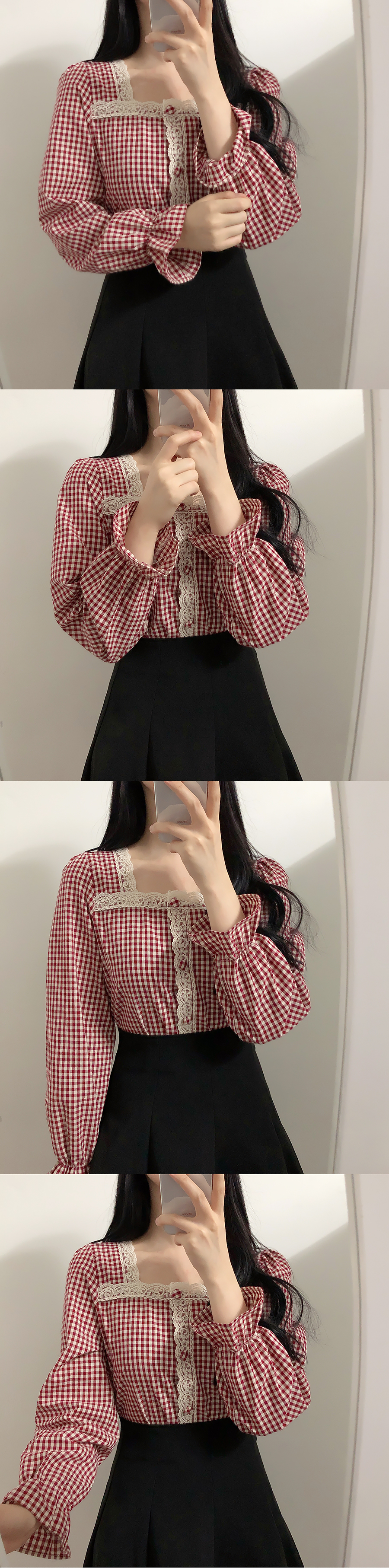 Self-made ♥ Yomi check lace blouse