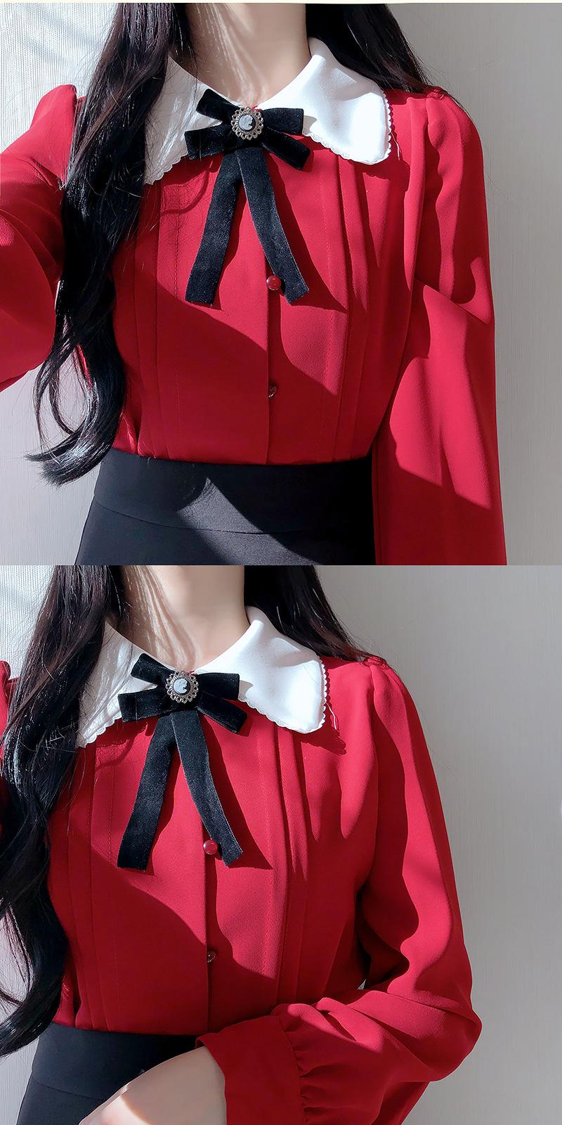 Brooch set ♥ Cozy pin tuck collar bl