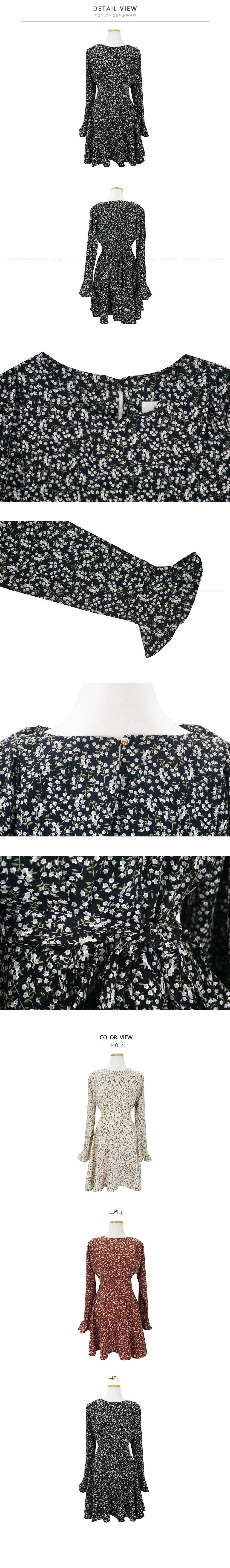 Cup flower ruffle ruffle mini dress 3color
