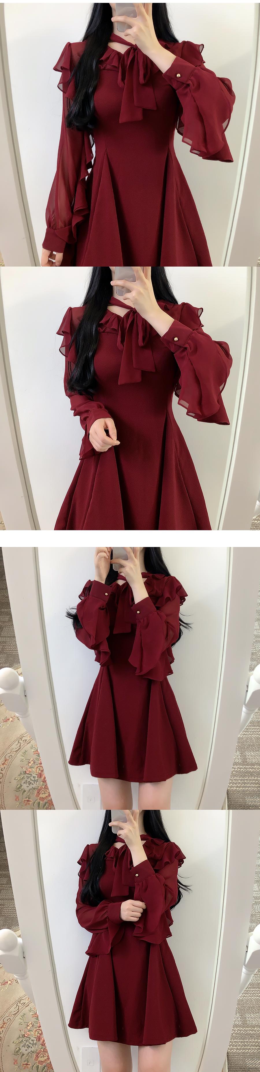 Valve Sleeve Ruffle Ribbon Dress
