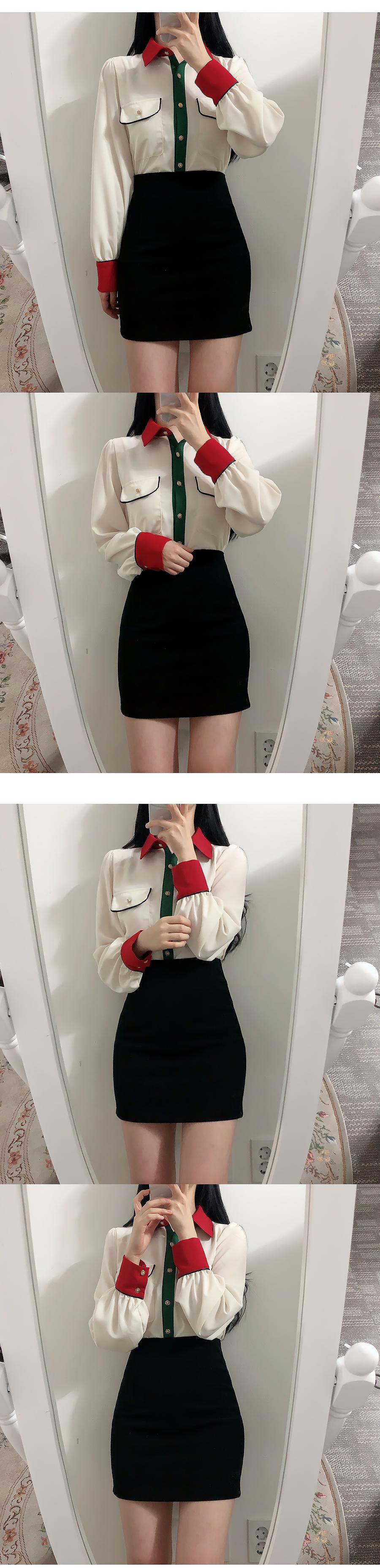 Two pocket color combination blouse