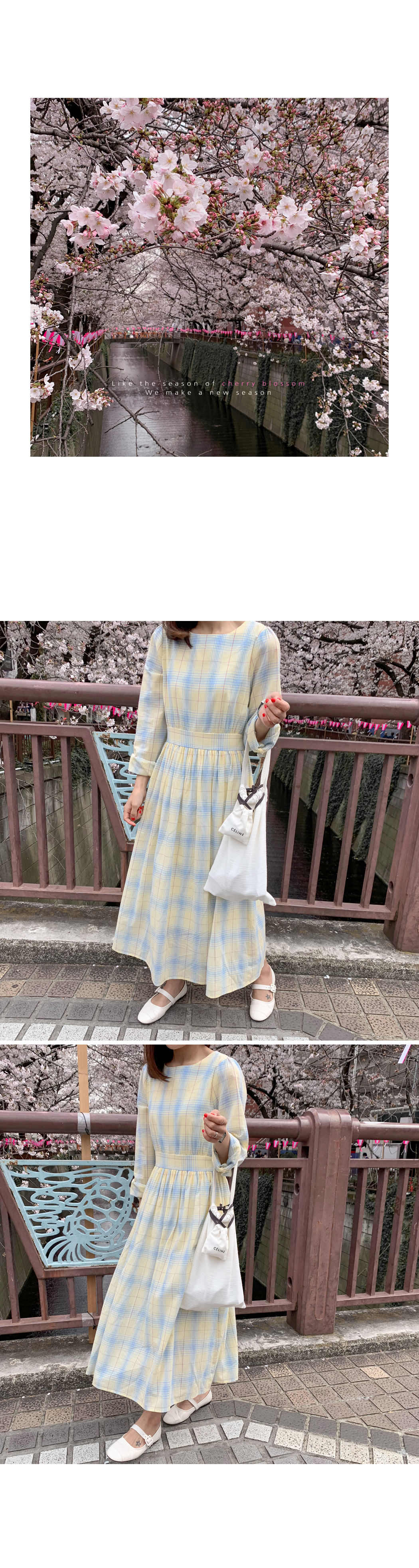 Check-checked cotton long dress
