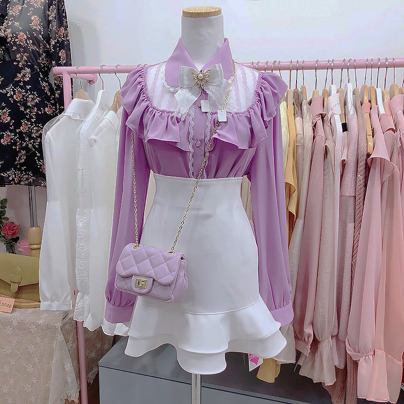 Made in-house ♥ macaroon lace see-through blouse